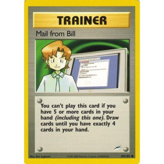 Pokemon Neo Destiny Common Card #105//105 Mail From Bill