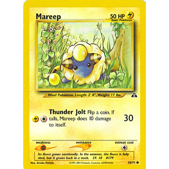 Mareep 58/75 Common 1st Edition Pokemon Card (Neo Discovery