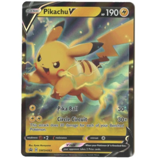 1x Pikachu V SWSH063 Promo Holo Card Sword /& Shield Pokemon TCG V Powers NM