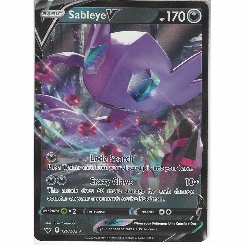 Sword and Shield 120//202 Ultra Rare Sableye V Pokemon Near Mint
